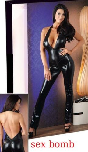 Black Wetlook M pelle Open effetto Sexy Taglia Onesie S L Zip XL glamour Club dwq0wxEPt7