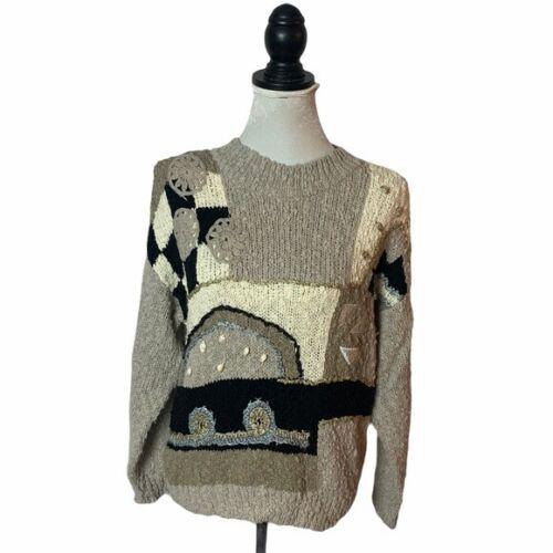 Bestworld Vintage 80's Retro Gray Acrylic Sweater