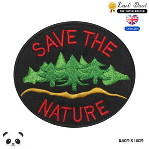 SAVE-THE-NATURE-Special-Embroidered-Iron-On-Sew-On-Patch-Badge-For-Clothes-etc