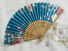 JAPANESE PINK FLOWER SKY BLUE HAND FAN DANCE FANCY CHINESE WEDDING PARTY J7