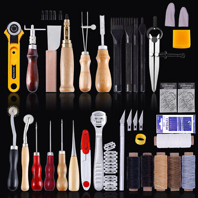 Professional Leather Craft Tools Hand Sewing Stitching Punch Carving 0.5mm-5mm