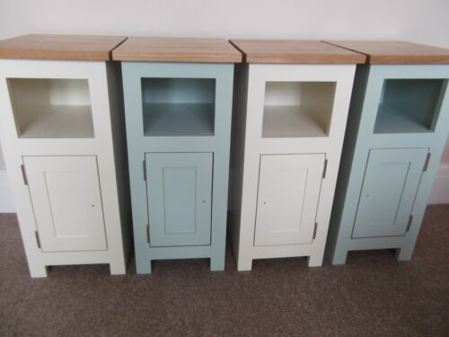 Pair Solid Oak with Painted Narrow//Slim Bedside Pot Cupboards 27cm width UK MADE
