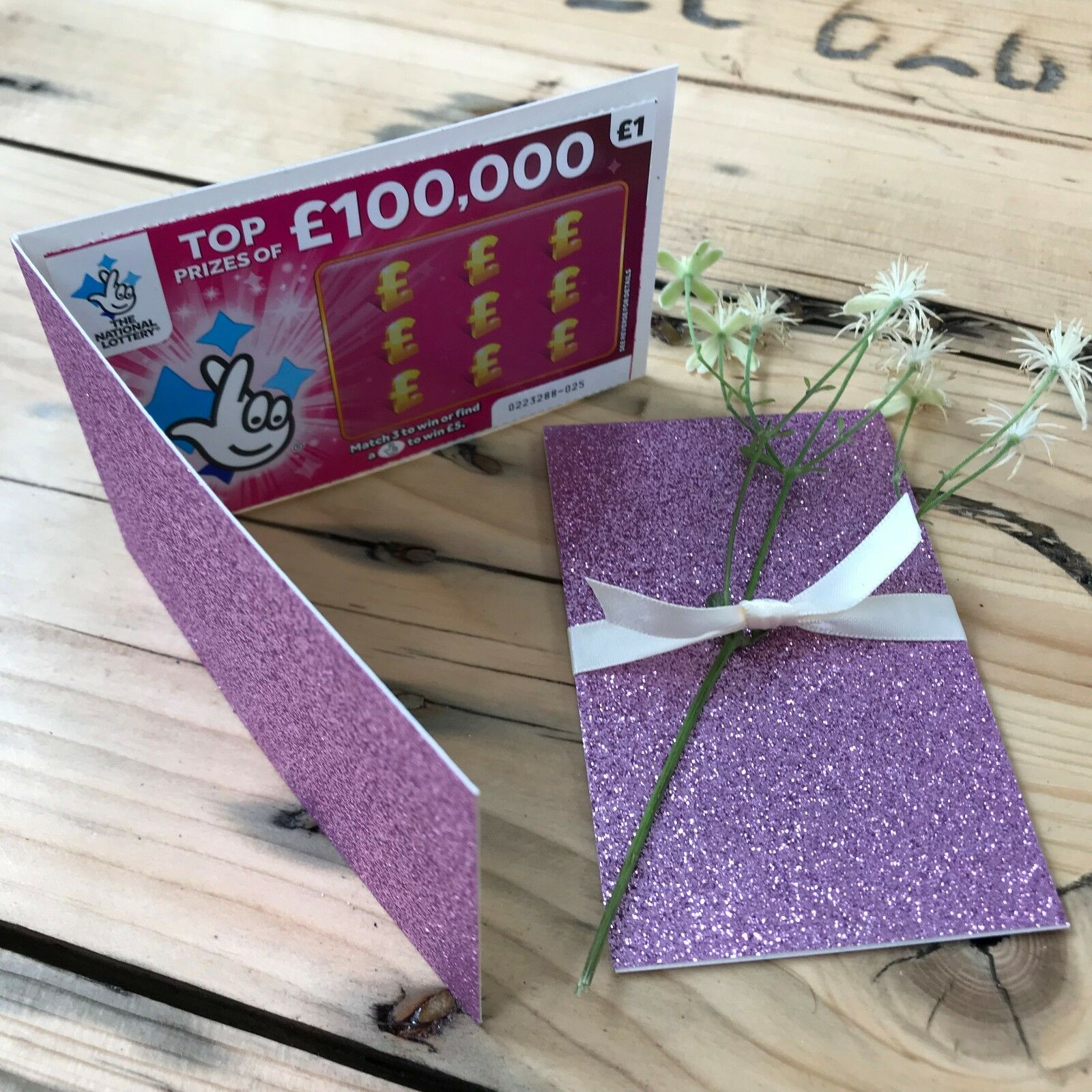 Light lila Glitter Lottery Wedding Favour Lotto Card Holder Scratch Card
