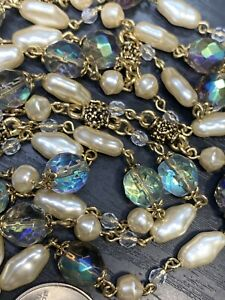Vintage-AB-glass-Crystal-Cream-Pearl-Long-Necklace-Sweater-Style-48-Clasp