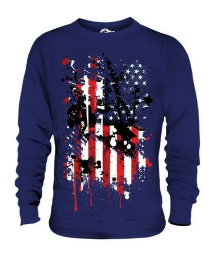 STARS AND STRIPES ABSTRACT PRINT UNISEX SWEATER USA UNITED STATES AMERICA FLAG