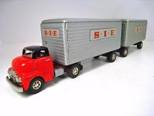 "SSS SHIOJI Tin Friction SIE - PIE 1953 GMC Truck & Tandem Trailers 25"""