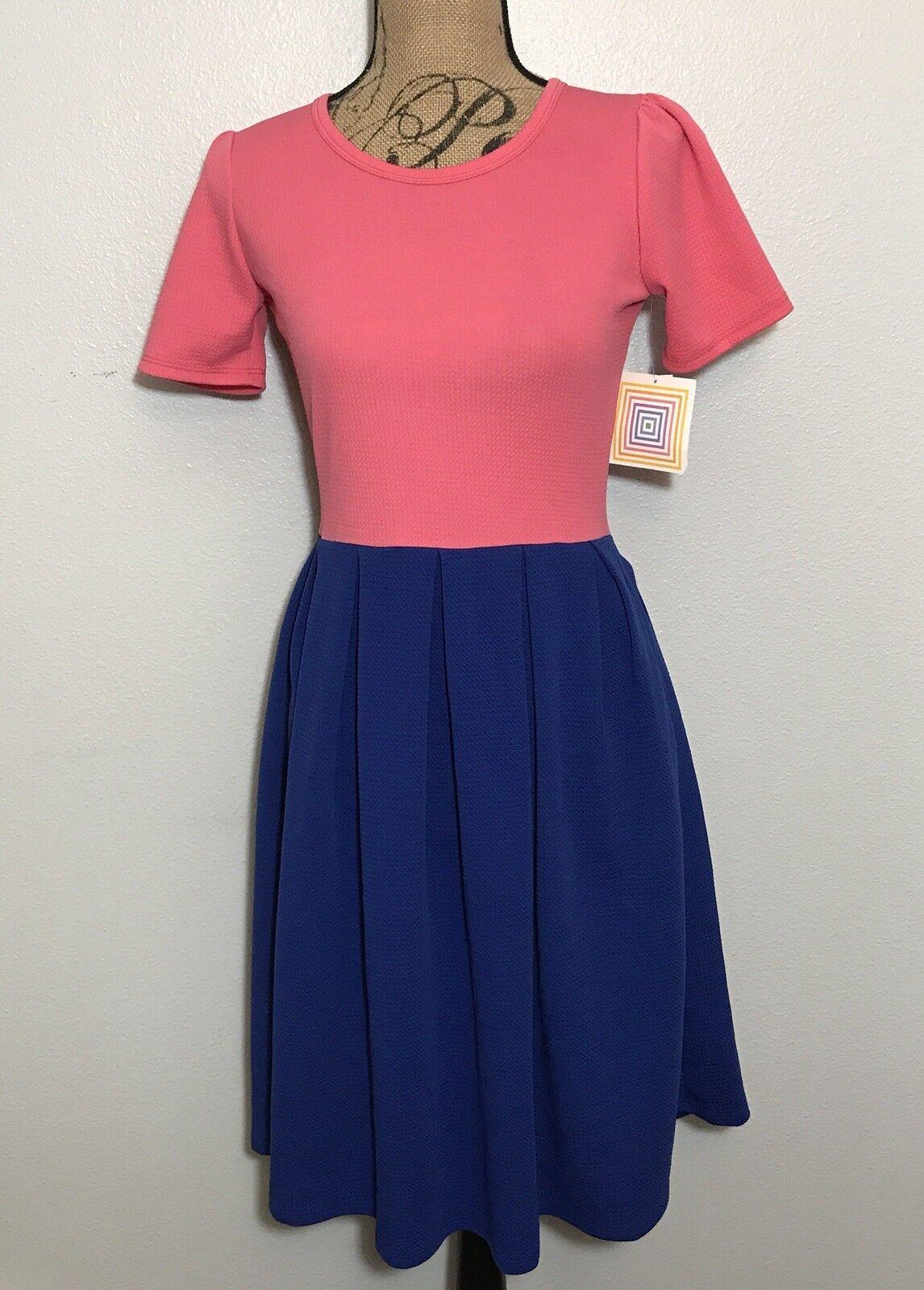 NWT LuLaRoe Amelia SOLID Blau Rosa Farbeblock Dress Rare Unicorn Größe S Small