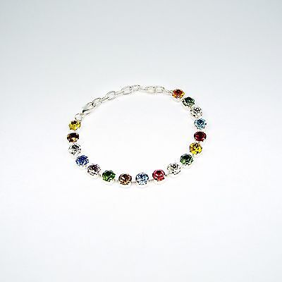 Damen Armband Tennis 925 Silber Versilbert Swarovski Kristalle Weiß Blau Bunt