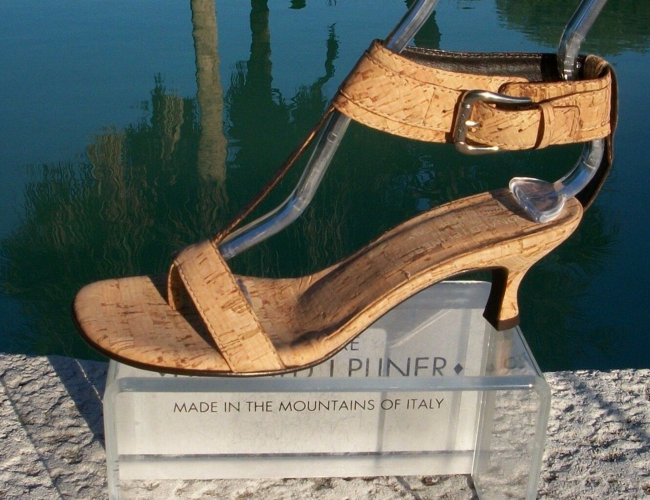 Donald Pliner Couture Natural Cork Leather schuhe New Wide Ankle Strap 6  325 NIB