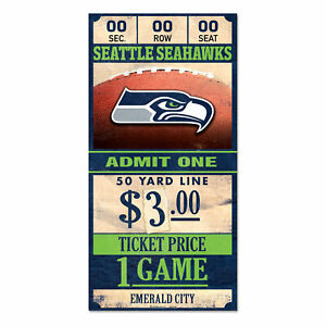 Seattle-Seahawks-Old-Game-Ticket-Holzschild-30-cm-NFL-Football-Wood-Sign
