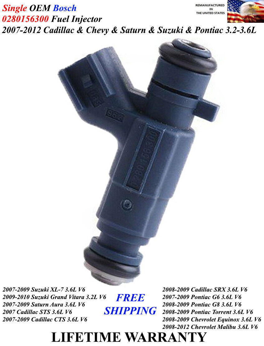 Set of 4 OEM Bosch fuel injectors 0280156300 for SUZUKI //Chevy//Cadillac//Pontiac