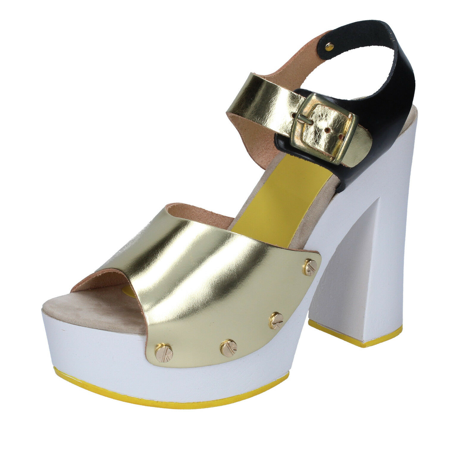 Women's shoes SUKY BRAND 9 (EU 39) sandals gold black leather BS17-39