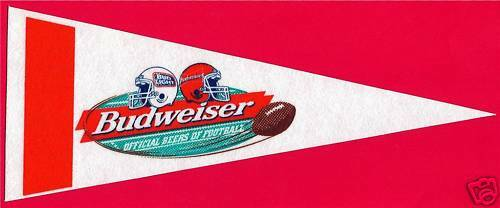 Old Budweiser Beer Football Mini Pennant An Busch