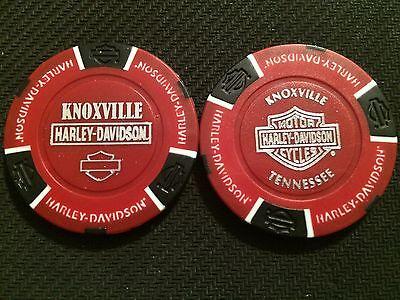 Knoxville Harley Davidson >> Harley Davidson Poker Chip Red Black Knoxville Tennessee Ebay