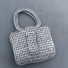 Women's Handmade Recycled Soda Pull Tab Handbag Purse Silver Crochet Gray Casual