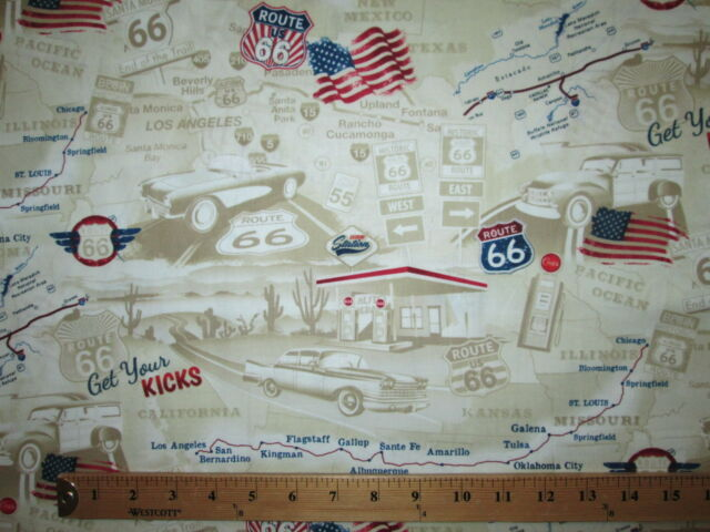 ROUTE 66 HISTORICAL MAP TAN BEIGE COTTON FABRIC FQ