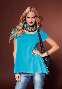 Damen-Basic-Shirt-Top-Rundhals-T-Shirt-tuerkis-blau-Chillytime-Sale-Neu-012