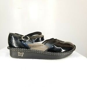 B48-Alegria-MAD-101-Black-Patent-Leather-Mary-Janes-Size-38-US-7-5-Womens-Shoes