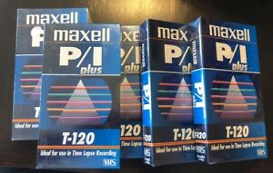 New-5-Maxell-VHS-P-I-Plus-T-120-Time-Lapse-Recording-Blank-Video-Tapes-Sealed