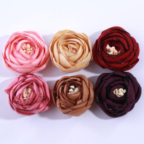 30PCS 3CM 3D Mini Satin Tulip Flowers For Hair Accessories FOR Headbands