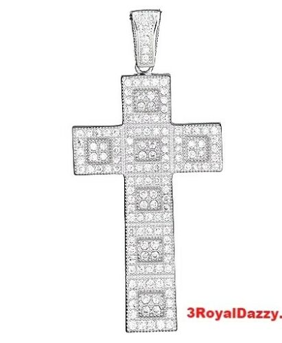 Fancy Squared 925 Sterling Silver Micropave Cross Pendant Platinum finish bling