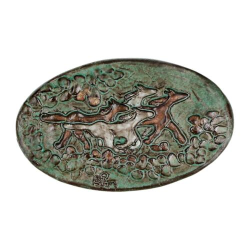 A vintage retro running horse pottery wall plaque Signed