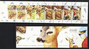 ISRAEL-STAMPS-2001-WILD-ANIMALS-BOOKLET-VF-BIRDS-DEER-TURTLE