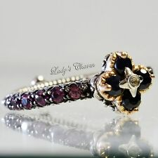 Barbara Bixby Brazilian Black Sapphire Garnet Sterling 18K Gold Ring Size 8