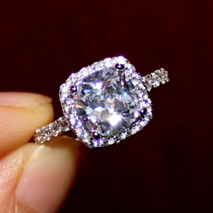 4Ct Cushion Cut Diamond Halo Engagement Ring 18K White Gold Over Round Accents