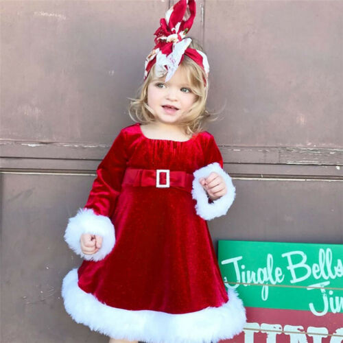 Toddler Kids Baby Girl Christmas Red Princess Party Dress Fluffy Clothes Outfits