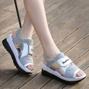 Platform Shoes Women Open Toe Trainers Mesh Sandals Casual Sports ... 742e609695