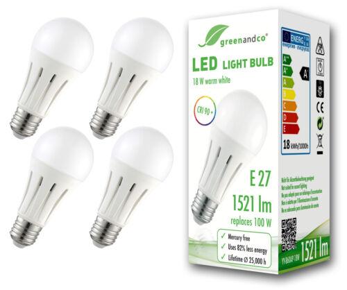 flimmerfrei E27 18W =100W 1521lm warmweiß 270° greenandco LED Lampe CRI 90