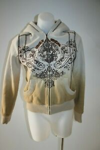 MURMUR-tan-embroidered-hoodie-jacket-size-S-8-10-199-NEW