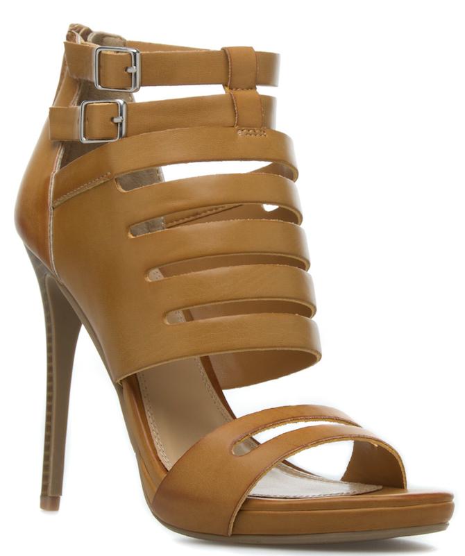 NEW Izabella Rue Jensena in Tan Stiletto Heel Buckle & Zip Open Toe US Size 10