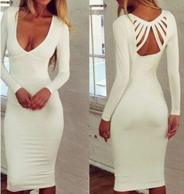 Sexy Women's Summer Deep V Neck Slim Evening Party Cocktail Bodycon Pencil Dress