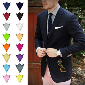 High Quality Men Pocket Square Handkerchief Hanky Plain Solid Suit Wedding Party