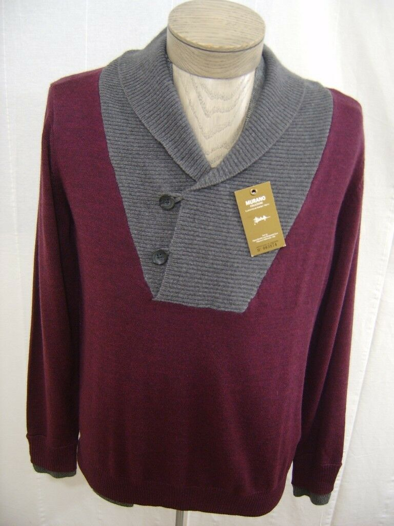 Murano  Herren XL 100% Wool Sweater Italian Shawl Button Sweater Burgundy grau 150