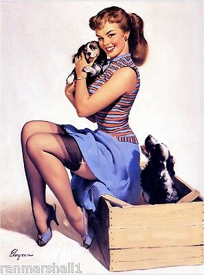 1940s Pin-Up Girl Cocker Spaniel Puppy Dogs 3 Picture Poster Print Art Pin Up