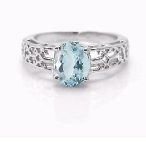 925-Sterling-Silver-Blue-Aquamarine-Ring-Natural-Cocktail-Anniversary-Size-4-11