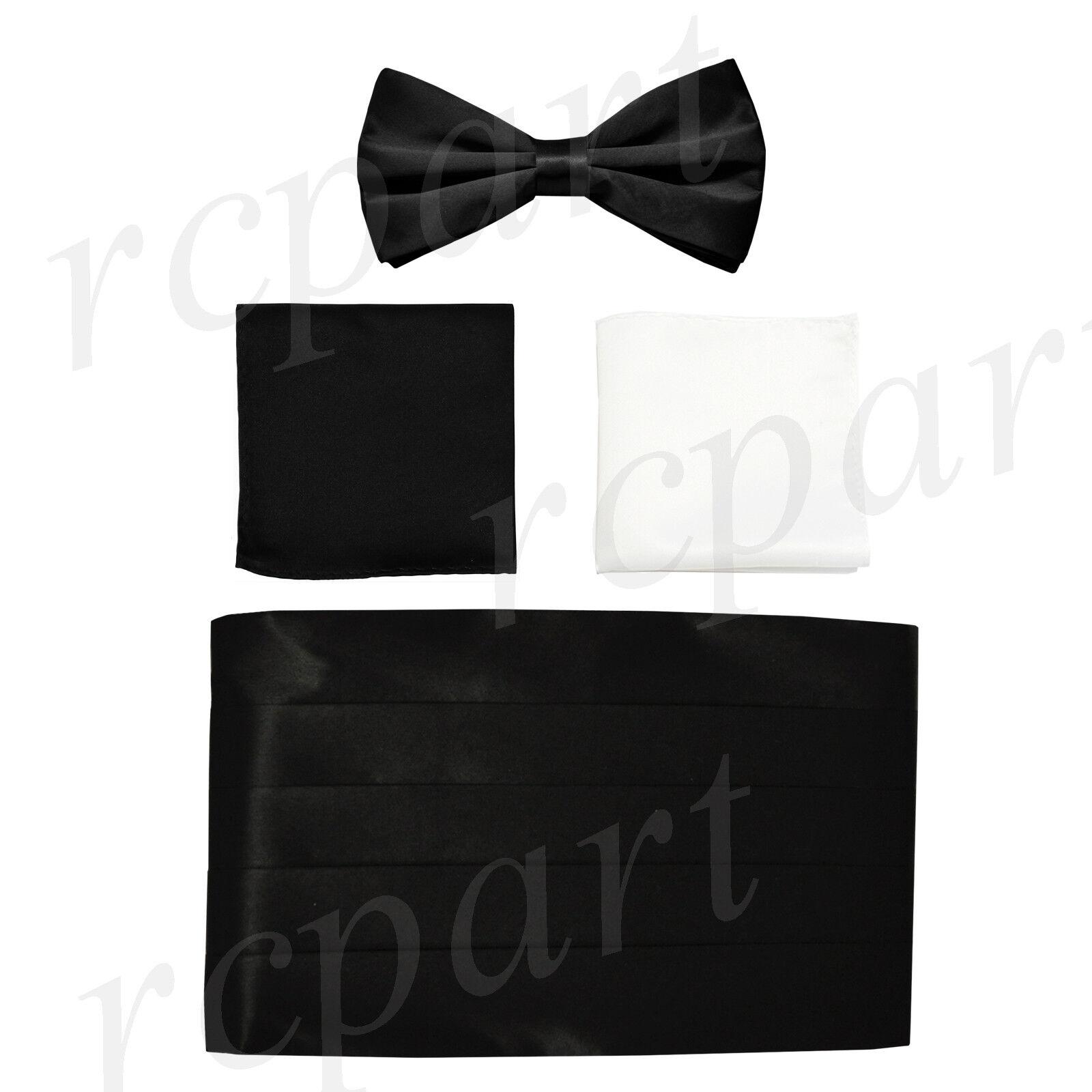 NEW in box formal polyester Cummerbund & bowtie set Black with two hankies