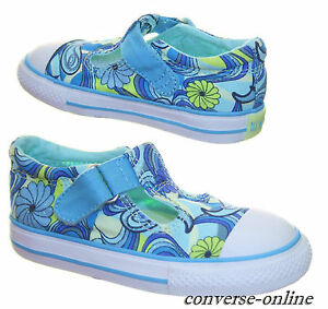 98efb94d0a08 KIDS Infants Girl s CONVERSE All Star T STRAP Blue Trainers Shoes ...
