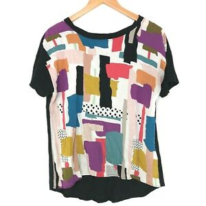 Anthropologie-T-la-S-Mixed-Print-Graphic-Top-Shirt-stretch-back-hi-low-statement