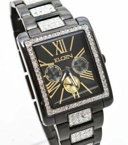 New-Elgin-Men-s-Black-IP-Crystal-Band-amp-Dial-Multifunction-Quartz-Watch-FG10003