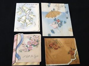 103-Romantic-Lot-Of-4-Vintage-1940s-Wedding-Gift-Enclosure-Greeting-Cards-Bells
