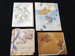 #103 Romantic Lot Of 4 Vintage 1940s Wedding Gift Enclosure Greeting Cards Bells