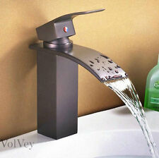 """8"""" Oil Rubbed Bronze Bathroom Sink Faucet Waterfall Lavatory One Hole/Handle Tap"""