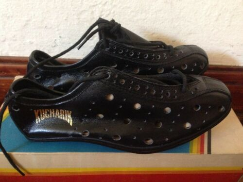 NOS Pair Kucharik vintage perforated leather cycling shoes w cleats 36-37-38 NIB
