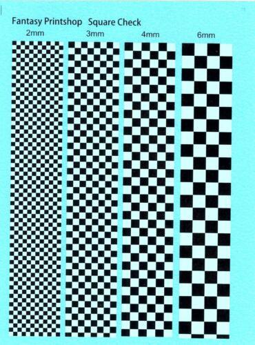 Fantasy Printshop Decals BLACK /& WHITE CHECKER MARKINGS 2mm to 6mm