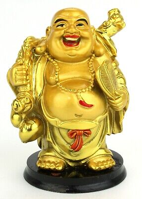 Ebros Feng Shui Hotei Dancing Happy Buddha with Gold Ingot and Money Bag Statue 11 Tall Zen Laughing Lucky Buddhas Budai Decor in Faux Wood Finish Sign of Love Longevity Wealth Joy