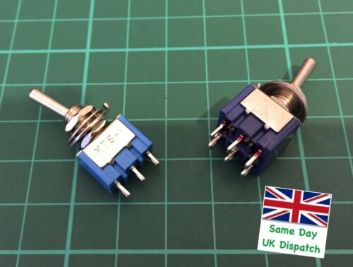 Mini Toggle Switch 3 and 6 Pin ON//ON DPDT 6A 125VAC//3A 250VAC